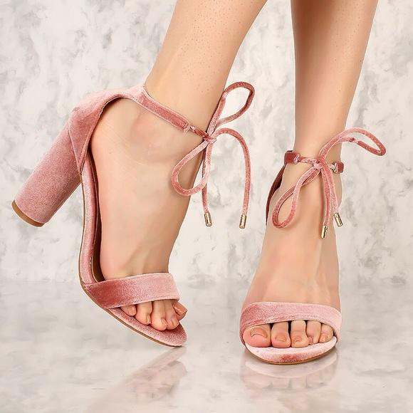 a37a2ca5c0 Shoes | Blush Velvet Opentoe Ankle Strap Heels | Poshmark